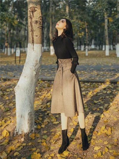 冬裙女晚秋毛衣搭配裙两件套赫本风御姐女神范洋气呢子半身裙套装