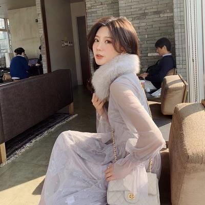 2018新款洋气羽毛刺绣长裙收腰网纱连衣裙泡泡袖很仙的上衣