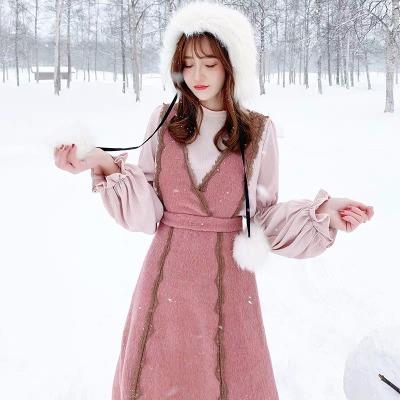 灯笼袖衬衣加毛呢背带裙两件套很仙的连衣裙配大衣的裙子女秋冬