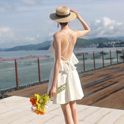 2018新款女夏马尔代夫海岛度假风泰国露背连衣裙巴厘岛沙滩短裙仙