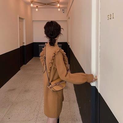 法国小众连衣裙娃娃针织毛衣裙子维多利亚复古宫廷很仙的长裙秋冬