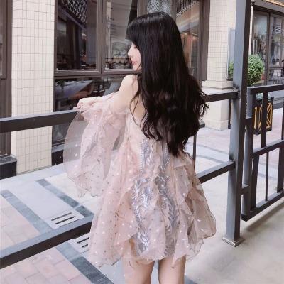 泰国潮牌超仙女神蕾丝刺绣透视波点喇叭袖网纱两件套连衣裙