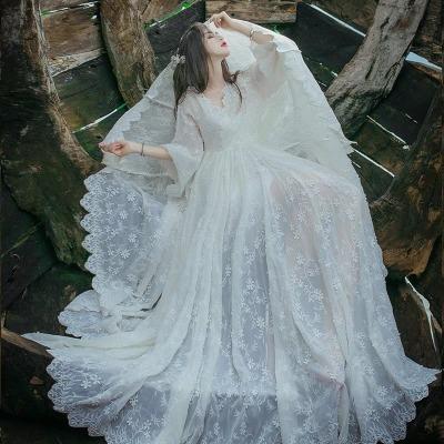 海边度假沙滩裙白色蕾丝长款旅游拍照必备超仙女飘逸大摆连衣裙