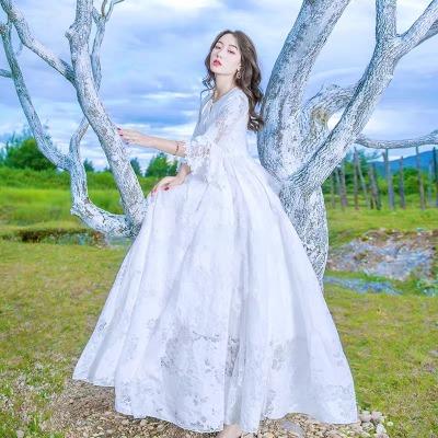 马尔代夫沙滩裙  气质白色很仙的蕾丝连衣裙海边度假旅游拍照长裙