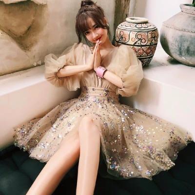 晚礼服女2018新款短款生日宴会派对小礼服名媛聚会连衣裙亮片洋装