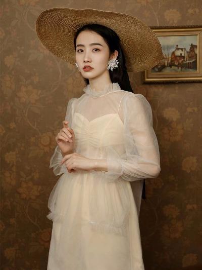 原创自制 新款荷叶领 白海棠 仙女网纱罩衫雪纺衫上衣女夏