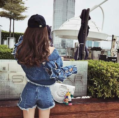 短裤女夏2018新款秋韩版高腰超显瘦百搭星星毛边不规则休闲牛仔裤