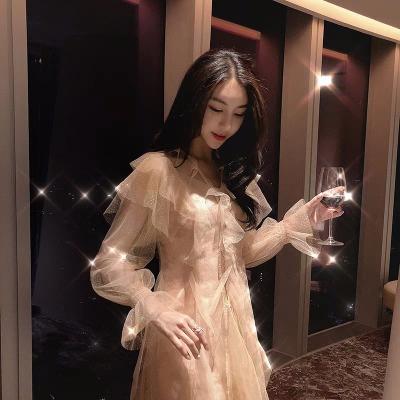 名媛女神范套装裙女2018秋冬新款网纱连衣裙洋气网红两件套
