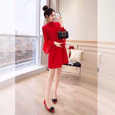 高冷气质秋冬女神女装红裙子结婚2018新款秋装新娘礼服红色连衣裙