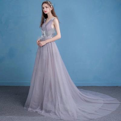 灰色伴娘服2018新款主持人宴会晚礼服裙女长款大码秋季短款抹胸小