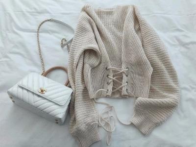 秋冬好看毛衣推荐  chic风百搭显瘦系带短款针织套头毛衣