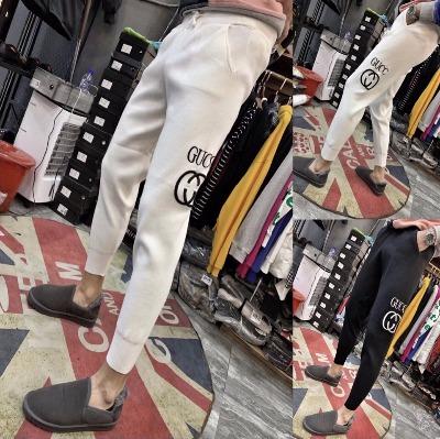 2018冬季新款韩版休闲针织裤男快手红人同款白裤子社会小伙小脚裤