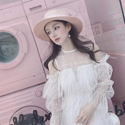夏季新款2018超仙气质一字领露肩荷叶边蕾丝裙吊带连体裤裙