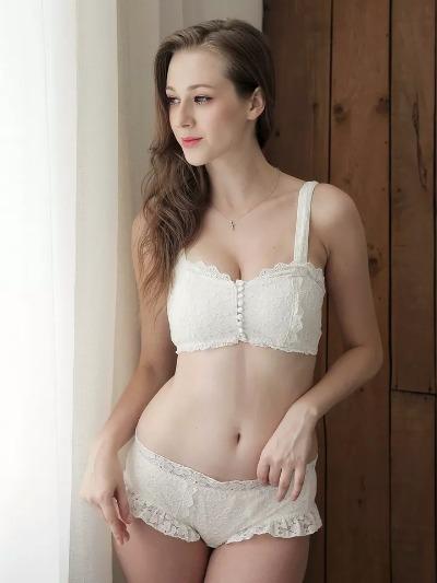 复古纽扣前扣棉质蕾丝抹胸式文胸套装少女无钢圈胸挡胸罩舒适减龄